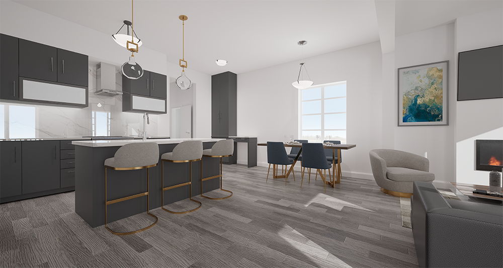 the kitchen and living area of highmark homes